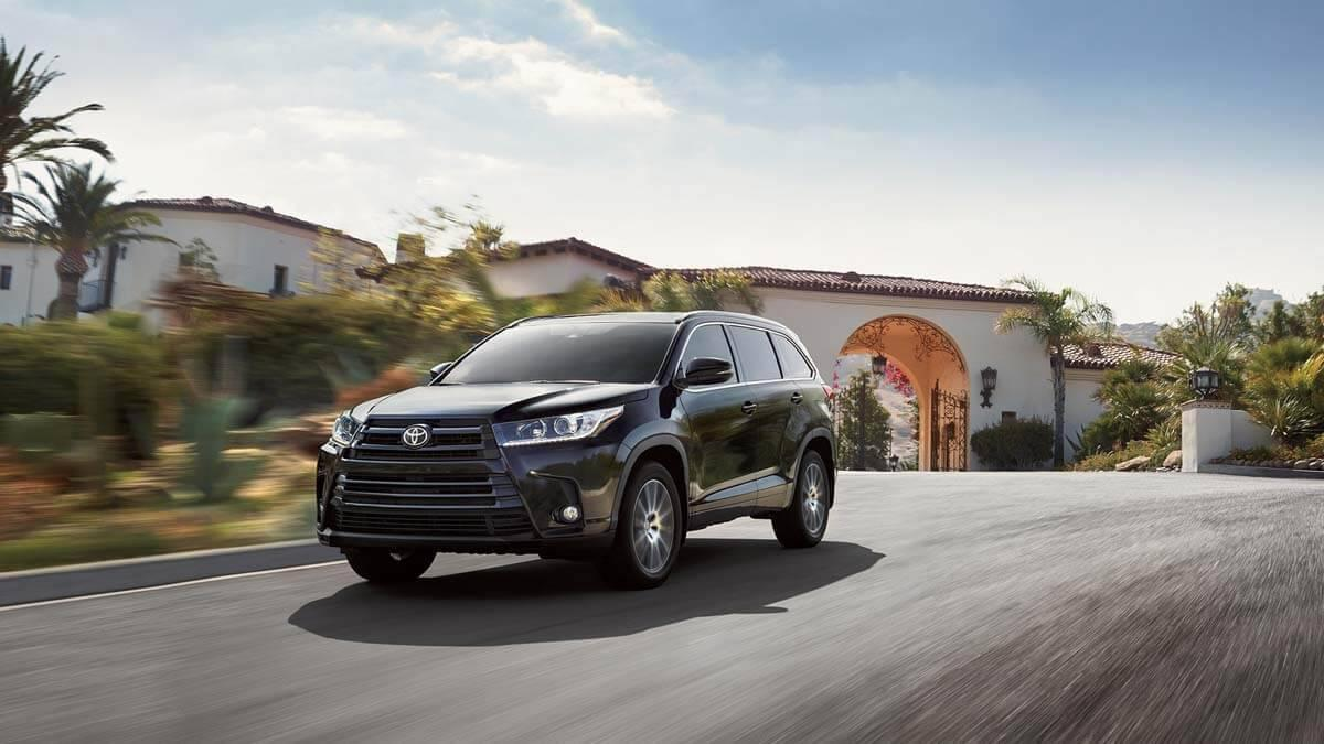 2017 Toyota Highlander on the road