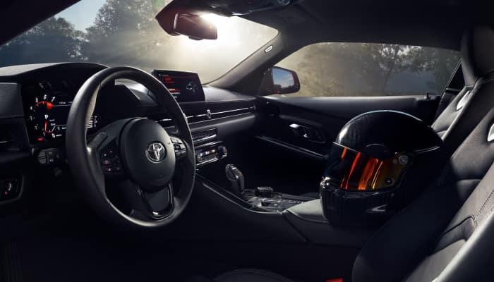 The sleek interior of the 2020 Toyota Supra