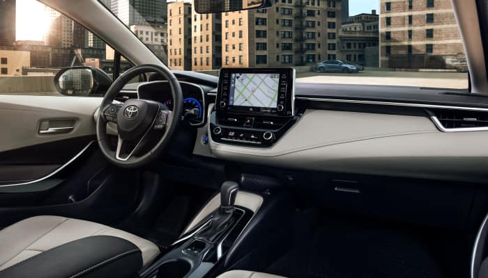 The spacious interior of the 2020 Toyota Corolla