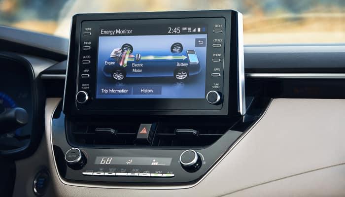 Touchscreen display inside the 2020 Toyota Corolla
