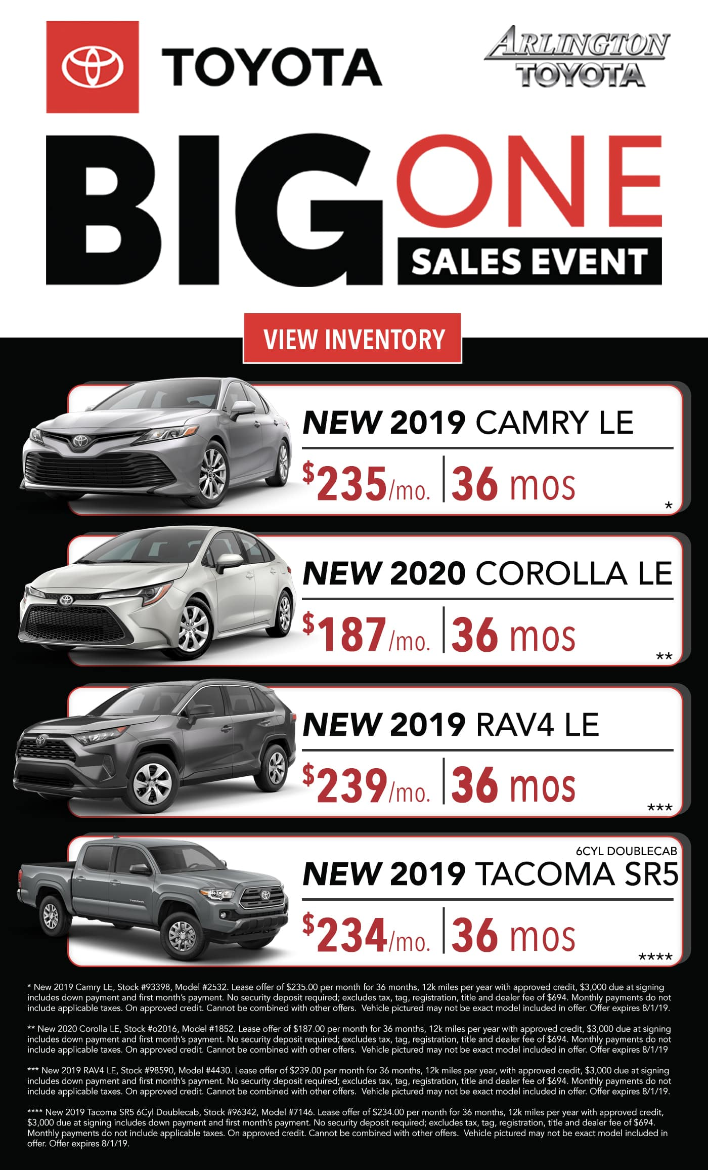 Lease Specials Near Me >> Big One Lease Specials July 2019 Arlington Toyota