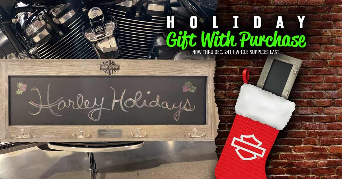 2019 Harley Chalkboard Holiday Gift with Purchase just in time for Christmas with qualifying purchase