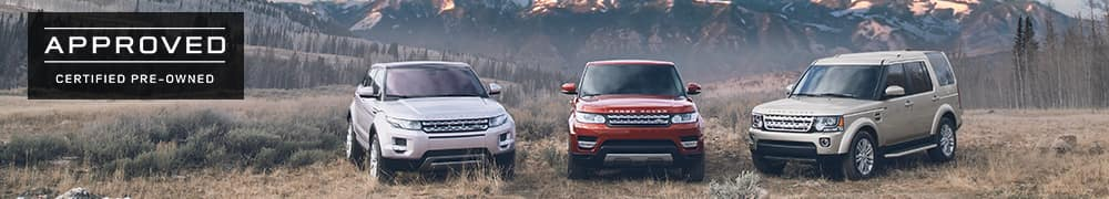 Image of three Land Rovers for the Approved Certified Pre-owned Program
