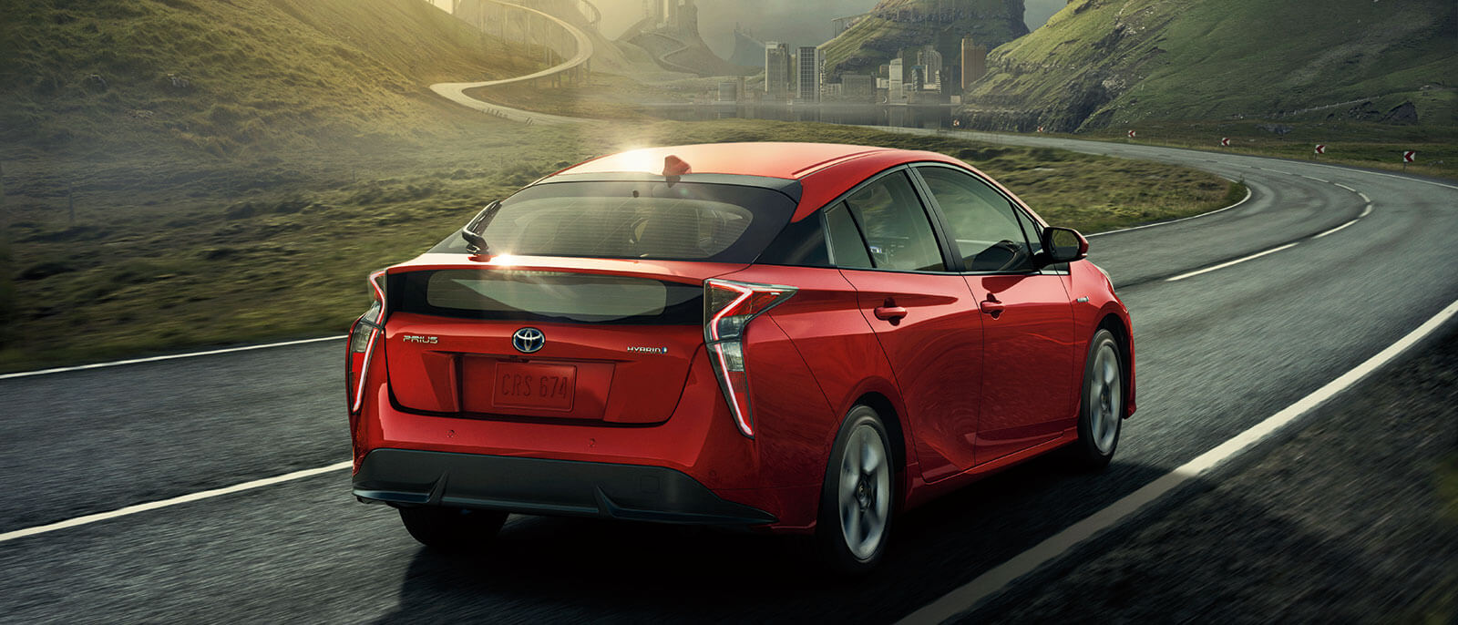 2016 Toyota Prius rear view in red