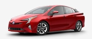 red Prius Hybrid sideview - part of the Toyota Hybrid Lineup