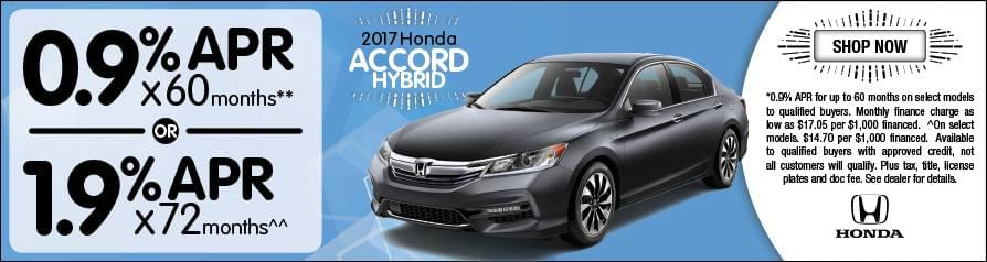 0.9% or 1.9% APR Financing for 2017 Accord Hybrid