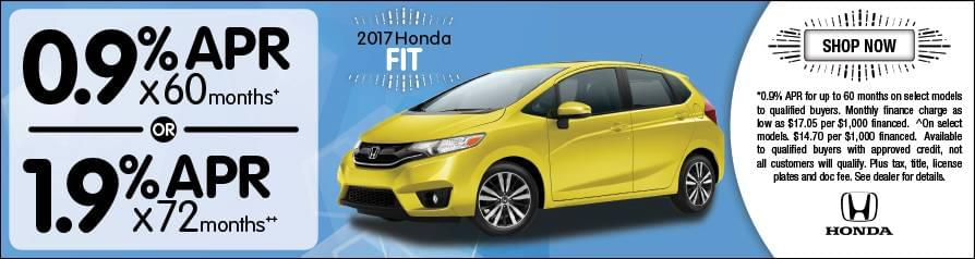 0.9% or 1.9% APR Financing for 2017 Fit