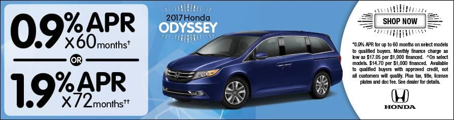 0.9% or 1.9% APR Financing for 2017 Odyssey
