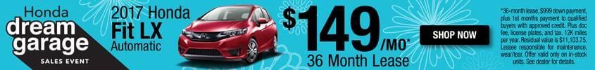 2017 Honda Fit Lease $149 mo