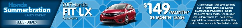 Lease 2017 Honda Fit $149