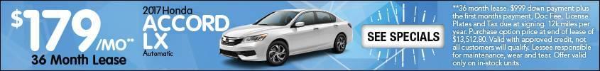 Lease Honda Accord LX $179 mo