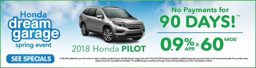 0.9% APR for 60 months on 2018 Pilot