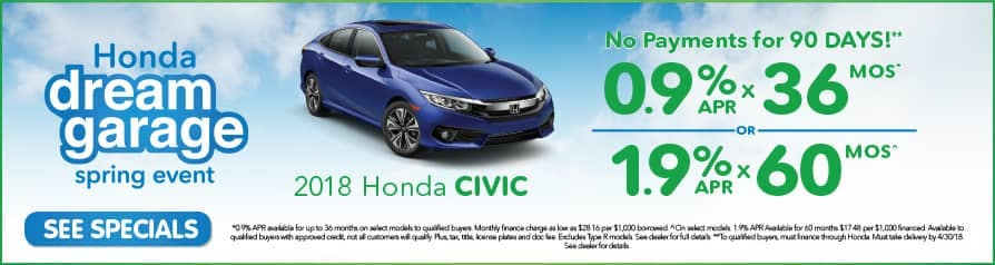 0.9% Apr for 36 mos. or 1.9% for 60 mos. on 2018 Civic
