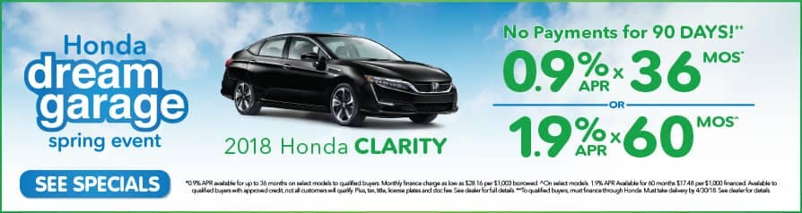 0.9% Apr for 36 mos. or 1.9% for 60 mos. on 2018 Clarity