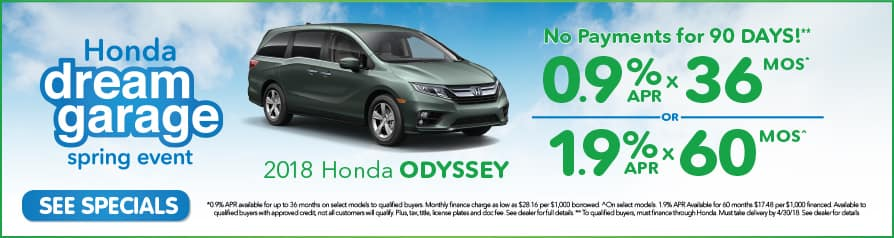 Odyssey Special. 0.9% APR for 36 mos or 1.9% for 60 mos