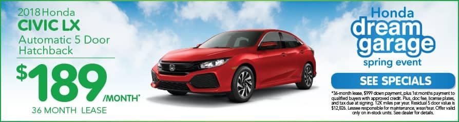 Lease Civic Hatchback $189 special