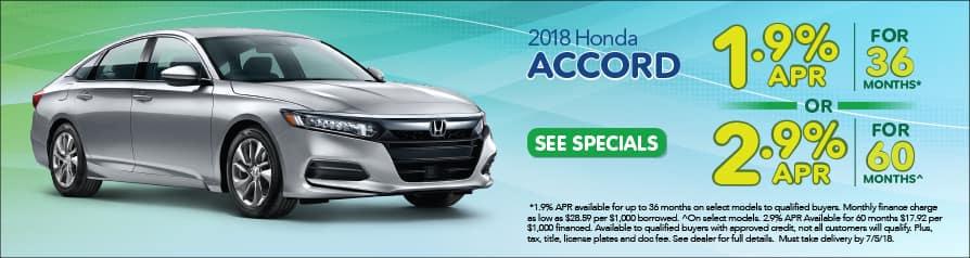 2018 Honda Accord Special Offer - June