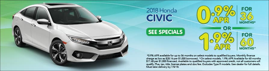 2018 Honda Civic Special Offer - June