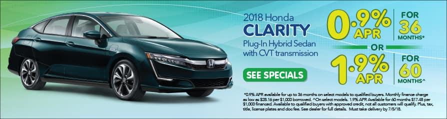 2018 Honda Clarity Special Offer - June
