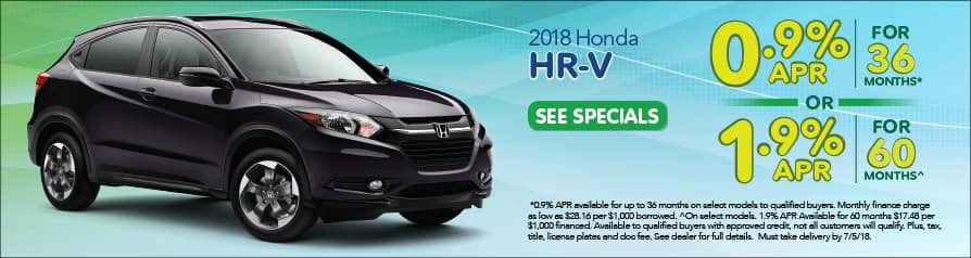 2018 Honda HR-V Special Offer - June