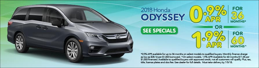 2018 Honda Odyssey Special Offer - June