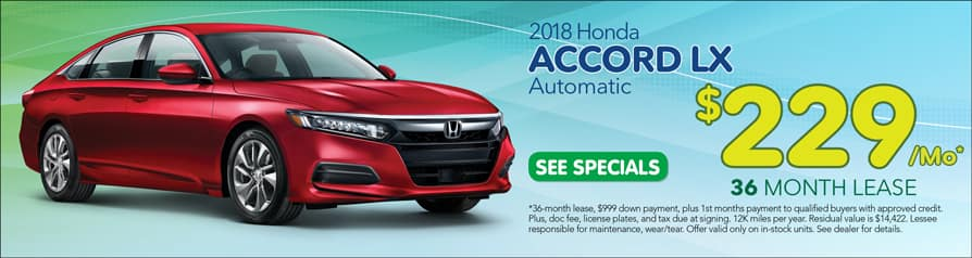 Lease 2018 Accord for $229