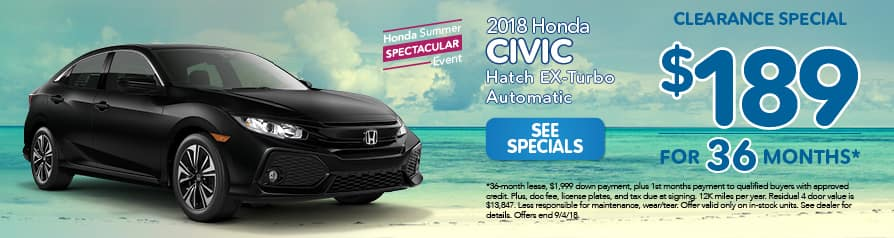 2018 Honda Civic Hatch Ex Turbo Automatic $189a month for 36 months