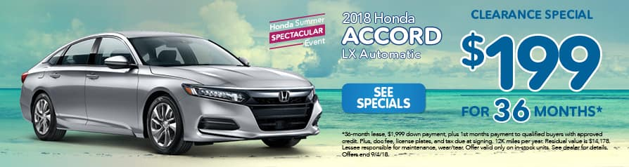 2018 Honda Accord LX Automatic $199 a month for 36 months