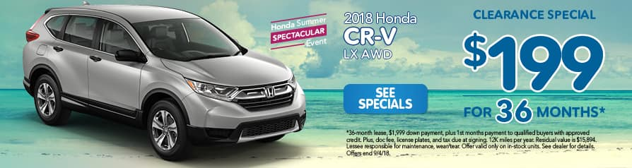 2018 CR-V LX AWD for $199 a month for 36 months