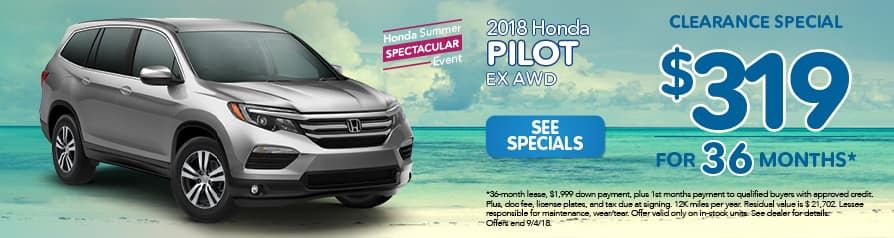 2018 Honda Pilot EX AWD for $319 a month for 36 months