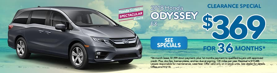 2018 Honda Odyssey for $369 a month for 36 months