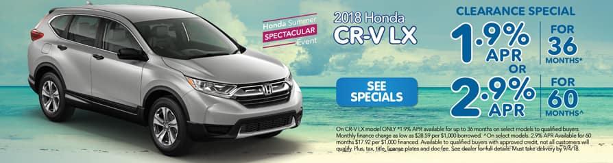 2018 Honda CR-V Clearance Special