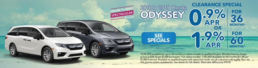 2018 and 2019 Honda Odyssey Clearance Special