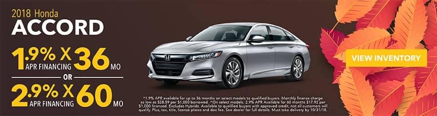 1.9%  2.9% APR For 2018 Honda Accord