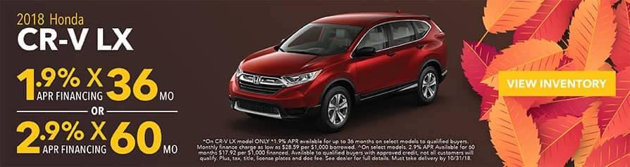 1.9% -2.9% APR for 2018 Honda CR-V