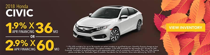1.9% -2.9% APR for 2018 Honda Civic