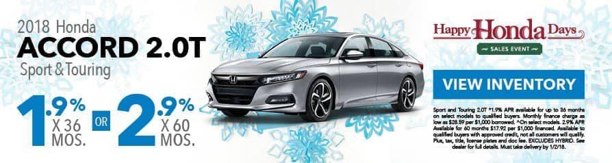 1.9% for 36 months or 2.9% for 60 months APR on 2018 Accord 3.0T