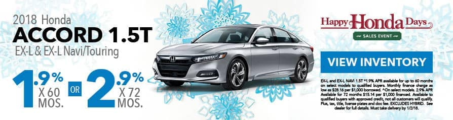1.9% for 60 months or 2.9% for 72 months APR on 2018 Accord