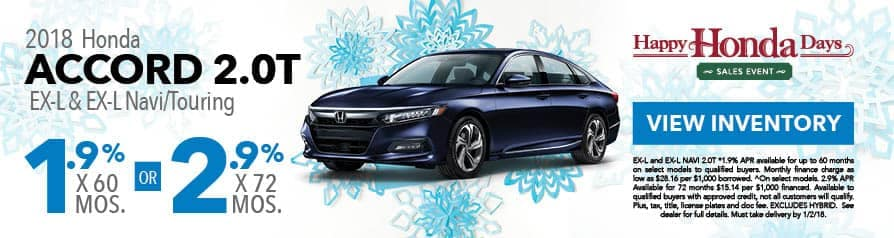 1.9% for 60 months or 2.9% for 72 months APR on 2018 Accord 2.0T