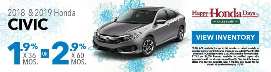 1.9% for 36 months or 2.9% for 60 months APR on 2018 and 2019 Civic