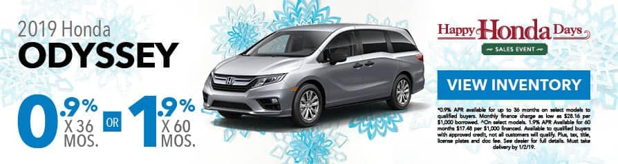 0.9% for 36 months or 1.9% for 60 months APR on 2019 Odyssey