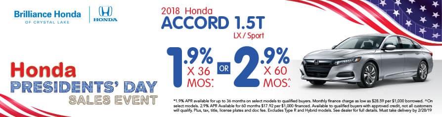 2018 Honda Accord 1.5T LX/Sport APR offer