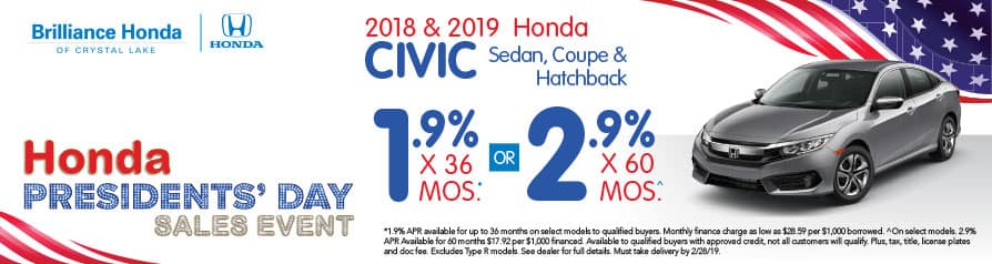 2018 & 2019 Honda Civic APR offer