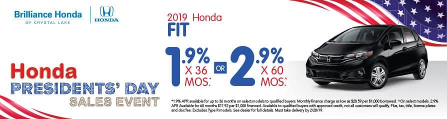 2019 Honda Fit APR offer