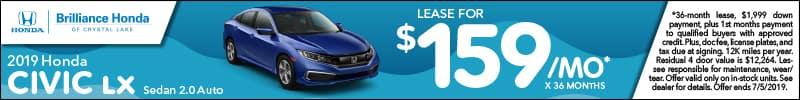 2019 Honda Civic LX Lease Offer