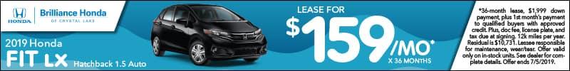 2019 Honda Fit LX Hatchback Lease