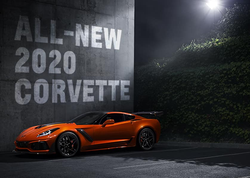 Orange Corvette in Moonlight