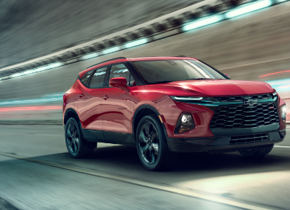 All New Chevy Blazer driving through a tunnel in Chicago