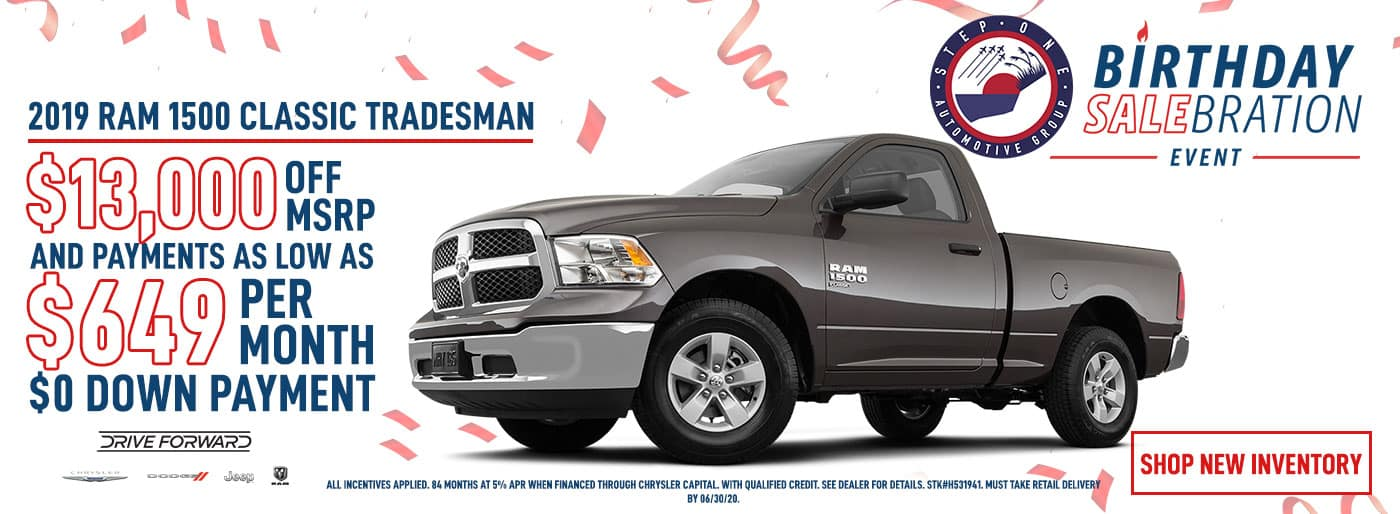 2019 RAM 1500 Classic with $13,000 OFF MSRP and $649 Per Month Lease