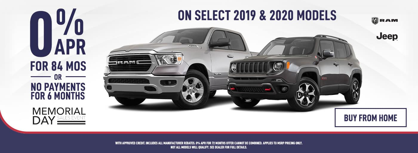 RAM & Jeep 0% APR for 84 Months 0r No Payments for 6 Months